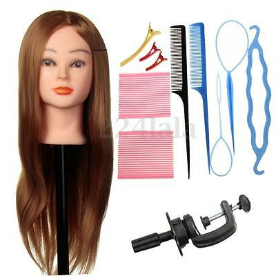 24'' Human Hair Training Practice Head Mannequin Hairdressing + Braid Set Tool