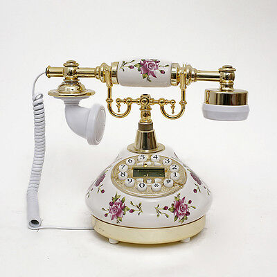 502 Retro White Ceramic Vintage Antique Telephone Desk Phone Living Room  Decor - 502 RETRO White Ceramic Vintage Antique Telephone Desk Phone Living