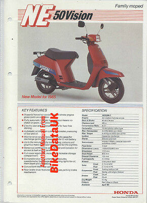 Honda UK NE50M Vision 1985-on Fact Sheet Sales Brochure NE50 NE 50 M Scooter