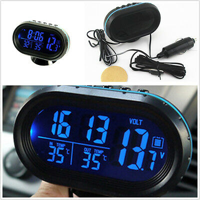 Car Indoor/Outdoor LCD Digital Temperature Voltage Gauge Cigarette Lighter Plug