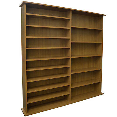 EXTRA - 1300 CD / 552 DVD / Large Media Book Storage Shelves - Oak MS1111