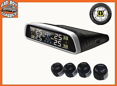 TPMS Wireless SOLAR Powered Car Tyre Pressure Monitor System For CLASSIC CARS