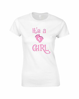 Womens ladies t shirt  it's a girl/boy baby shower S,M,L,XL sister mother