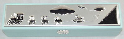 Christening Certificate Holder Blue And Silver Girl