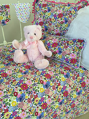 4 pce Linens n Things Primrose Girls Baby Cot Quilt Set Floral Shabby Chic