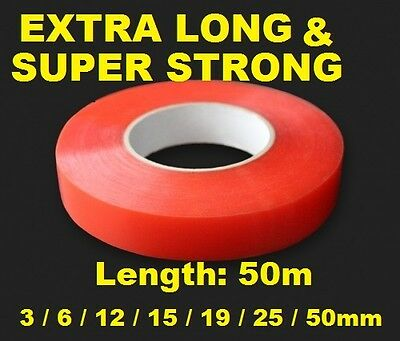 Double Sided Adhesive Sticky Tape Easy Lift Super STRONG Clean EXTRA LONG 50m