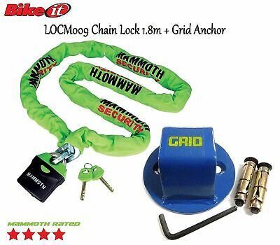 Grid Motorcycle Ground Anchor+Mammoth Locm009 1.8M Chain Lock New 2017