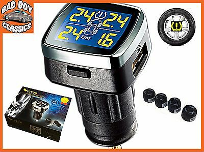 TPMS Wireless Tyre Tire Temp Pressure Monitor System External Sensors UNIVERSAL