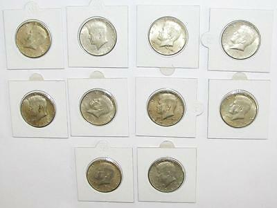 Lot of Ten (10) 1964 P & D Kennedy Half Dollar, 90% Silver, Coins