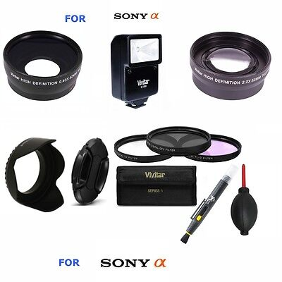 Flash + Wide Angle Lens + Telephoto Zoom Lens + Filter Kit For Sony Alpha A3000