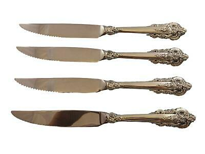 Grande Baroque by Wallace Sterling Silver Steak Knife Set 4pc HH Custom 8 1/2""