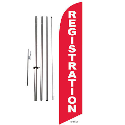 Registration (red) Feather Banner Swooper Flag Kit with pole+spike