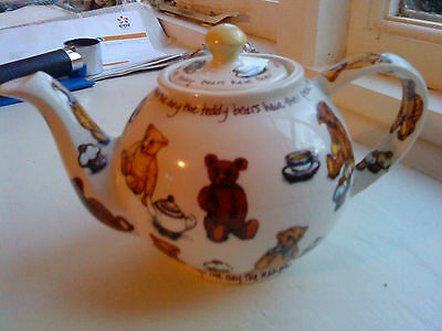 Vintage English Ironstone Tableware Teapot By Paul Cardew In Ted-Tea Design