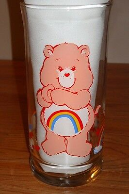"Vintage Care Bears CHEER BEAR Pizza Hut Promotional 6"" Drinking Glass 1983"