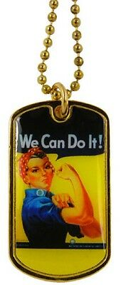 Military Ladies Dog Tags / Key Chain We Can Do It Army Navy Air Force Marines