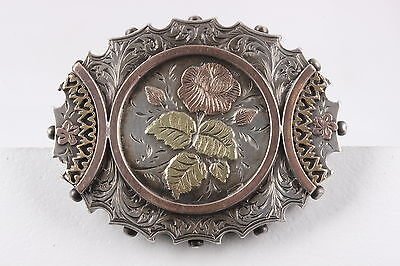 Antique Floral Brooch-Pendant W/ Red & Green 12K & Yellow 10K Gold  Fine 3214