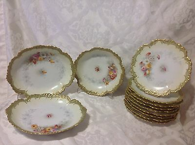 1884-1906 Beautiful G & D Co Limoges Fr 8 1/2in 10ct Plates/3 Bowls; Gilt Floral