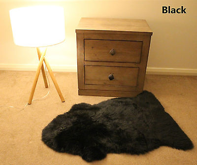 Black 100CM Genuine Australian Sheepskin Lambskin Rug Pelt ECO-TAN SANITIZED