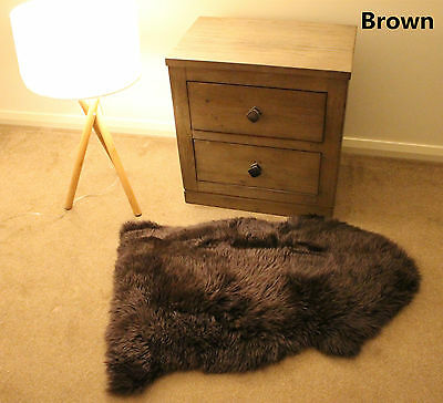 Brown 100CM Genuine Australian Sheepskin Lambskin Rug Pelt ECO-TAN SANITIZED