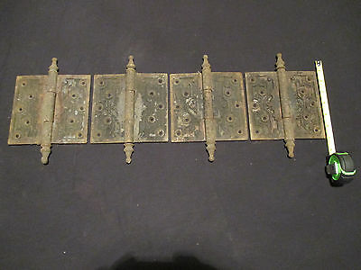 ~ Set Of 4  6 X 6  Hinges Ornate With Steeple Pins ~ Architectural Salvage ~