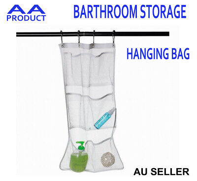 Bathroom Shower Tub Toilet Door Hanging Storage Mesh Bag Organizer Holder