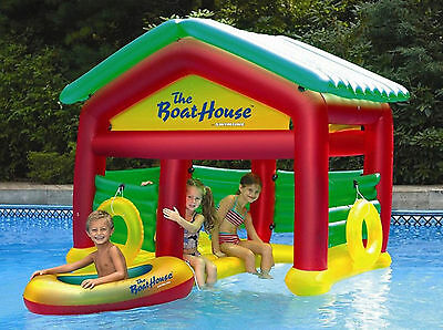 Kids Inflatable Swimming Pool Float Boat House Floating Party Swim w Raft Lake