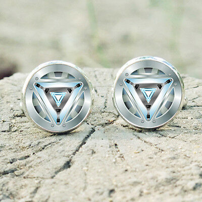 Iron Man Jarvis Logo 14mm Handmade Silver Dome Tile Earrings Unique Gift