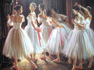 Home Decor print Abstract oil painting art canvas (No stretch) ballet dance RWt0