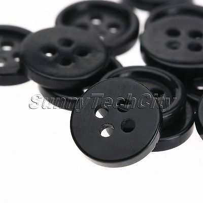 100Pcs 4 Holes Round Resin Buttons Sewing Scrapbook DIY Crafts Black 10mm Button