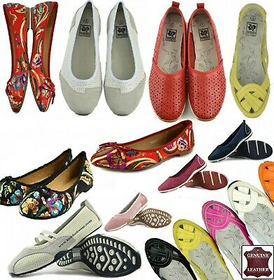 16a620dd043 Ladies Leather Comfortable Lightweight Loafers Ballerina Pumps UK3-UK8