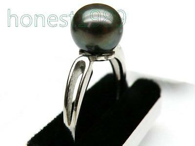 Genuine 8mm round peacock black akoya pearl ring 925 sterling silver