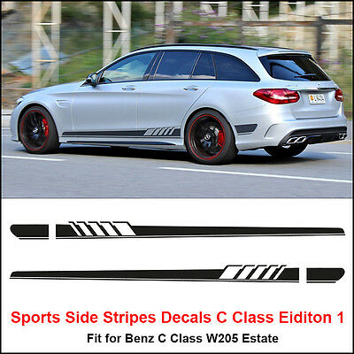 Edition 1 Side Stripes Sticker for Mercedes Benz W205 S205 C63 C Class AMG Black