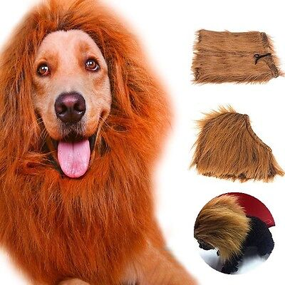 Pet Cat Costume Clothes Funny Fancy Dress Up Lion Mane Wigs Hair For Large Dogs