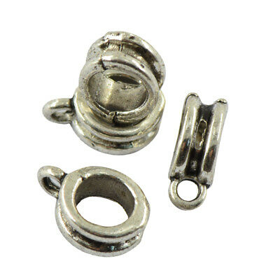 50pcs Antique Silver Bail Spacer Beads Pendant Hanger DIY Jewelry Findings