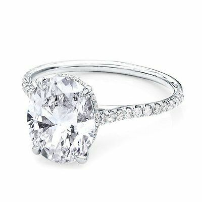 2.50ct Oval Solitaire Diamond Engagement Ring 14K White Gold Solitaire Ring