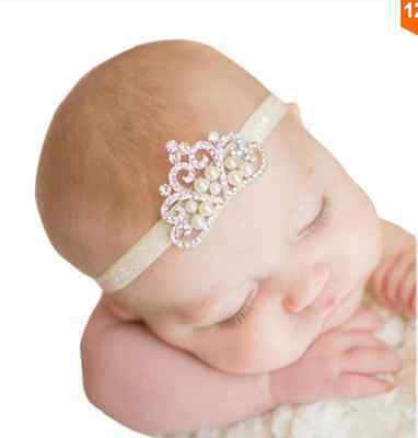 Princess Tiara Headband Baby Girl Toddler Infant Elastic Hairband Pearl Headband
