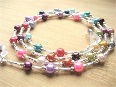 Mixed Colour Spectacle Chain Glasses Chain Handmade Glass Pearl Silver Beaded UK