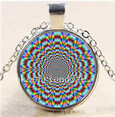 Psychedelic Eye Cabochon Glass Tibet Silver Chain Pendant  Necklace