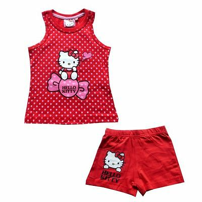 Hello Kitty Set, Top + Shorts, rot, Gr. 86-122/128