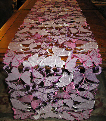 "Purple Butterfly Decor Lacy Cutwork Applique Table Runner Dresser Scarf 66""x 12"""