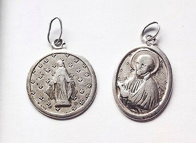 2 X Vintage French Religious Medals Genuine 800 Silver, 1900's - 1920's
