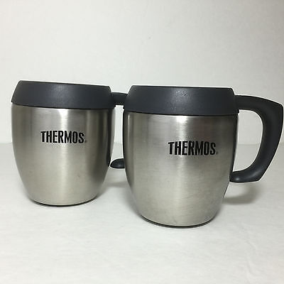 Set of 2 Thermos Cups Stainless Steel Dark Gray Coffee Mugs with Handles 8 Ounce