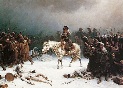 """Art oil painting Napoleons retreat from moscow in winter with a heavy snow 36"""""""