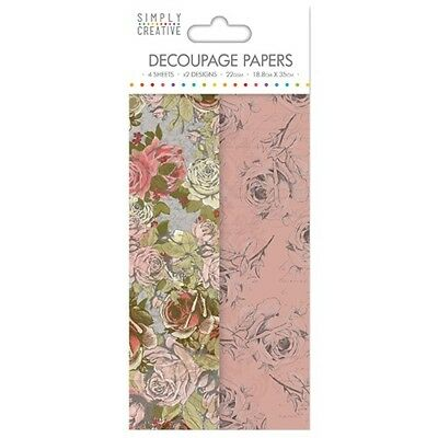 Simply Creative Rose Bloom Decoupage, Decopatch Papers SCDEC039
