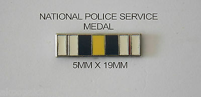 National Police Service Medal Ribbon Bar 5Mm X 19Mm Enamel & Nickel Plated