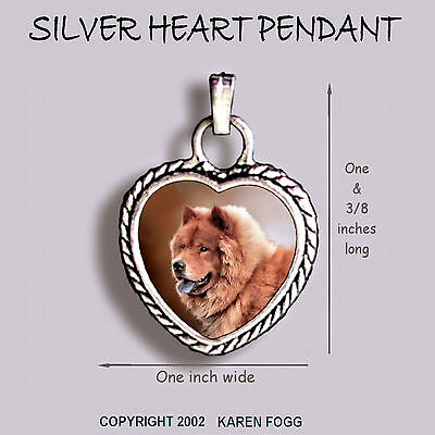 CHOW CHOW DOG Red - Ornate HEART PENDANT Tibetan Silver