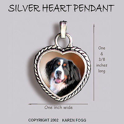 BERNESE MOUNTAIN DOG - Ornate HEART PENDANT Tibetan Silver