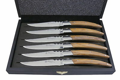 NEW Laguiole by Louis Thiers Artisan 6-piece steak knife set with olive wood han