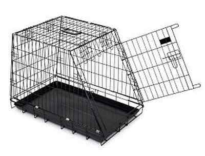 Deluxe Sloping Dog Transport Kennel Cage Metal Crate Pet Mobile Travel Carrier