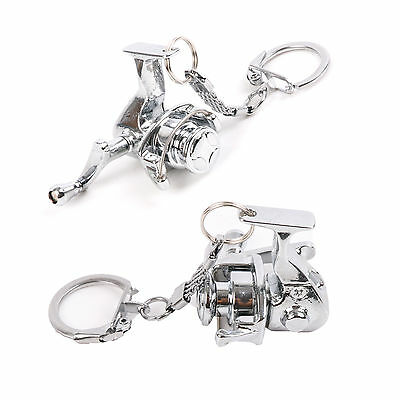 Fishing Spinning Reel Key Chain Stainless Steel Silver Key Rings 2 Pcs/lot